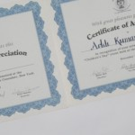 Certificates for students from the Indian Consulate in New York for work  exhibited there.