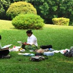 Outdoor water colour painting session for adults.