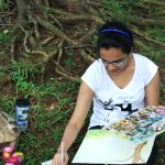 Outdoor painting session for portfolio students.