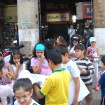 Mumbai Darshan –students at Crowford Market with their sketchpads.