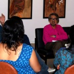 Veteran theatre personality Alyque Padamsee talks to the adults group on  creativity blocks.